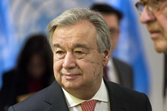 António Guterres awaits his Dec. 12 swearing-in ceremony as the ninth secretary-general of the United Nations. United Methodists are among the signers of a letter congratulating him and calling for a new focus on peacebuilding. Photo by Mark Garten, United Nations