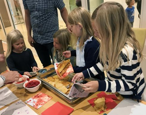 When children in the United Methodist congregation in Arendal, Norway, heard about the mudslide and flooding in Sierra Leone, they sold waffles, coffee and treats and raised $200 to help children now homeless because of the disaster. Norwegian United Methodists sent $39,000 in total to Sierra Leone. Photo by Stig-Johnny Jørstad.