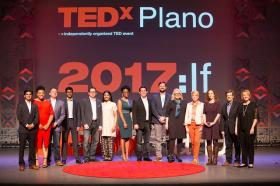 The Rev. Arthur Jones (center) of St. Andrew United Methodist Church poses with other speakers at an April TEDx event in Plano, Texas.  Photo courtesy TEDxPlano.