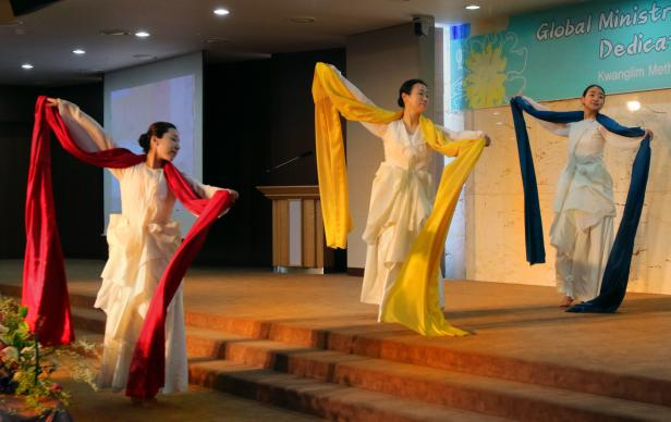 "Performers with the Nanumteo Dance Company offer an act of praise, ""Peace Be With You,"" at the March 23 dedication service for the new Asia regional office of United Methodist Global Ministries. Photo by Jacob Lee, UMNS."