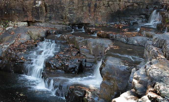 Water cascades over rocks at Dismal Falls along the Appalachian Trail in Bland County, Va.