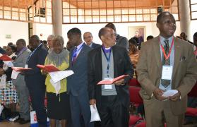 Residential and retired bishops attend worship during the Africa College of Bishops retreat in Mutare, Zimbabwe, in September. Among the issues discussed were the five new episcopal areas starting in 2020. Photo by Eveline Chikwanah, UMNS.