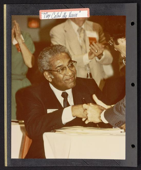 Perkins School of Theology's Bridwell Library has a photo of the Rev. W.T. Handy on his election as a United Methodist bishop in 1980. Handy's personal papers are at Bridwell, and he's among three African-American bishops featured in a new exhibit there. Photo courtesy Bridwell.