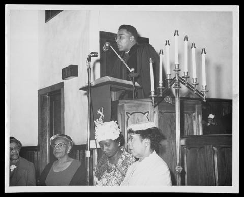 The Rev. W. T. Handy, preaching in the 1950s. He later was elected one of the early African-American bishops in The United Methodist Church's South Central Jurisdiction, and he's among three African-American episcopal leaders featured in an exhibit at Perkins School of Theology's Bridwell Library. Photo courtesy Bridwell Library.