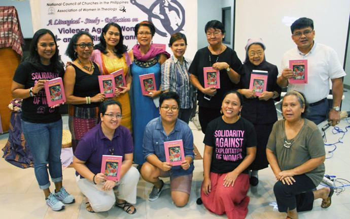 "The authors of the book, ""Pinay Magnificat: Living Out Our Theology,"" a collection of poems and essays published by the Association of Women in Theology, pose during the event in Quezon City, Philippines. Photo by Jonathan Sta. Rosa."