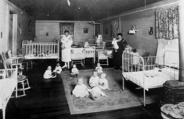 "The San Antonio, Texas brothel run by Mary ""Madam"" Volino would in 1895 become a rescue ministry for young women in prostitution. The change came after Volino's dramatic conversion. The Methodist-supported ministry would soon shift its focus, arranging adoptions of babies born there to young women pregnant out of wedlock. This undated photo shows the infant room. Photo courtesy of Providence Place."