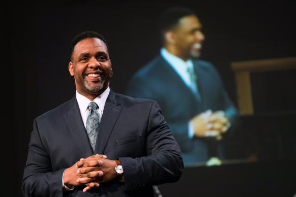 The Rev. Caesar Rentie, who once played offensive tackle for the Chicago Bears, now serves as vice president for pastoral services at Methodist Health System in Dallas. He's also an associate pastor at First United Methodist Church in Mansfield, Texas.  Photo by Carter Rose, for First Mansfield United Methodist.