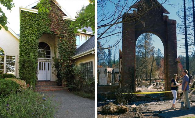 The Rev. Blake Busick and his wife, Peggy, returned to their Santa Rosa home after it was destroyed by the California wildfires that started on Oct. 9. Left image shows the Busicks' home before it was ravaged by fire. Photos by Sue Larson, courtesy of the Rev. Blake Busick.
