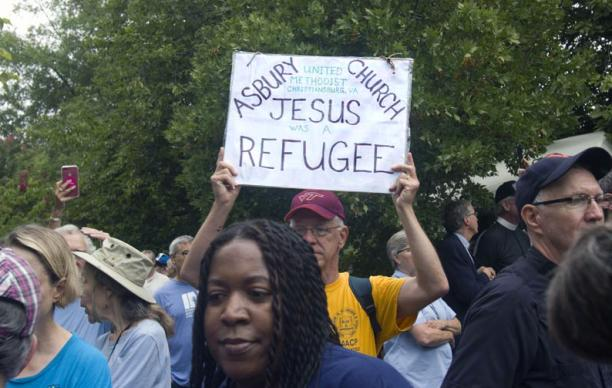 United Methodists were among demonstrators from 14 states who joined in the anti-racism protests in Charlottesville, Virginia. The march turned deadly when a car rammed through a group protesters who were there to counter the Aug. 12 march by white nationalists fighting the moving of a Confederate statue. Photo by Richard Lord, UMNS.