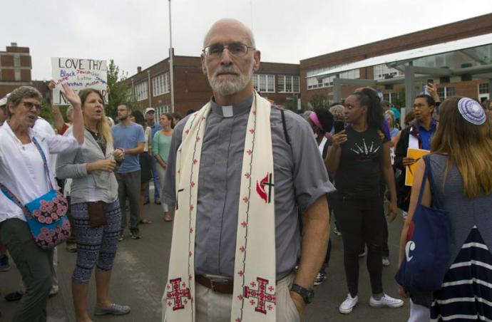 The Rev. John D. Copenhaver, a retired pastor, drove 140 miles from Winchester, Va., to attend an interfaith worship service and anti-racism protests in Charlottesville. Photo by Richard Lord, UMNS.