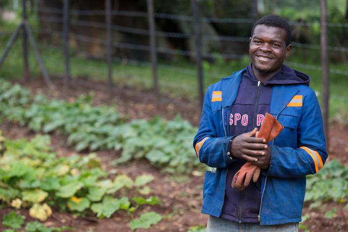 Tsaurai Chibvongodze works in the garden at Morgenster Mission Hospital in Masvingo, Zimbabwe, where the chaya plant is grown to help supplement patients' diets. Photo by Mike DuBose, UMNS.