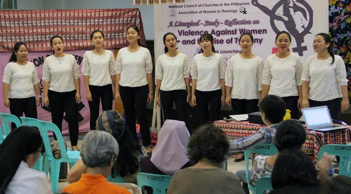Student deaconesses perform music during the International Declaration on the Elimination of Violence against Women in Quezon City, Philippines. United Methodist deaconesses took part in the ecumenical gathering that addressed the vulnerability of women to violence and called for an end to that violence. Photo by Jonathan Sta. Rosa.