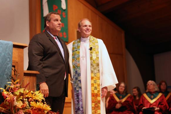 Bishop John Schol of the Greater New Jersey Annual Conference (left) and N.J. Gov. Chris Christie at a Day of Prayer church service Oct. 29, commemorating the fifth anniversary of superstorm Sandy and celebrating the accomplishments of A Future With Hope. The event was held at St. Andrew's United Methodist Church in Toms River, N.J. Photo courtesy of A Future With Hope.