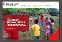 An image from the new website for the United Methodist Board of Church and Society shows a clear identity for the agency and an easy-to-use navigational scheme. Image courtesy of the United Methodist Board of Church and Society. Image courtesy of the United Methodist Board of Church and Society.