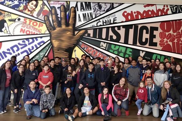 Hispanic youth from Dallas area United Methodist churches and Dallas' Wesley-Rankin Community Center took a civil rights history tour of the South March 11-15. The group is seen here at the Center for Civil and Human Rights in Atlanta. Photo by Martha Valencia.