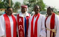 United Methodist clergywomen, left to right, the Revs. Nelly Wright, Clarrisa Robertson, Anna Kpaan and Anna Tarr-Sayeh, attended the Liberia Annual Conference in Ganta, Liberia, in March. In his episcopal address, Bishop Samuel J. Quire Jr., called on all United Methodists in Liberia to be an example of inclusiveness in the execution of its programs and other activities that will include women. Photo by Julu Swen, UMNS.