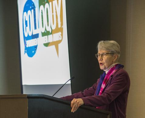 "The Rev. Mary Elizabeth Moore, dean of Boston University School of Theology, helped lead a Nov. 12-15 colloquy in Boston titled ""Missio Dei and the United States: Toward a Faithful United Methodist Witness."