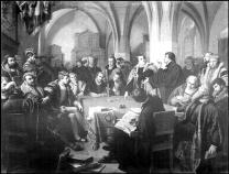 This 1869 oil painting by German artist Christian Carl August Noack depicts the Colloquy of Marburg, where Martin Luther and Ulrich Zwingli hotly debated how Christ is present in the Eucharist. The fight ultimately led to the first split among Protestant reformers. Public domain image from the Gymnasium Philippinum, courtesy of Wikimedia Commons.