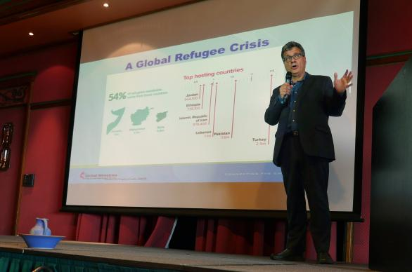 Thomas Kemper, the top executive of the United Methodist Board of Global Ministries, the denomination's mission agency, talks about the global refugee crisis during a meeting of the Connectional Table in Oslo, Norway. On May 20, the Connectional Table designated $100,000 of the denomination's contingency funds to help United Methodists stand with immigrants. Photo by Heather Hahn, UMNS.