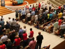 United Methodist Men join in worship during the group's 12th National Gathering, at St. Luke's United Methodist Church in Indianapolis. More than 620 men from across the United States registered for the event. Photo by Heather Hahn, UMNS.