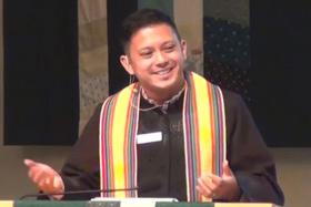 Video image of the Rev. DJ del Rosario, courtesy of Bothell (Washington) United Methodist Church.