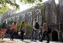 Students walk on the campus of United Methodist-related Duke University in Durham, N.C. Duke and Emory University in Atlanta, Georgia, are joining fifteen other private colleges in a legal challenge to President Donald Trump's immigration restrictions. Photo courtesy of Duke Photography.