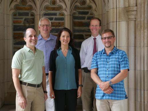 Faculty members at Duke Divinity School discuss challenges and rewards of the United Methodist theological school located in Durham, N.C. (from left to right, front row) Edgardo Colón-Emeric, Sujin Pak and Norman Wirzba, (back row from left to right) Randy L. Maddox and Warren Kinghorn.