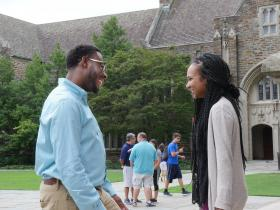 Joseph Robbins and Alexandria Daponte, rising seniors at Duke Divinity School, discuss reasons they feel called to attend the United Methodist school of theology. Photo by Kathy L. Gilbert, UMNS.