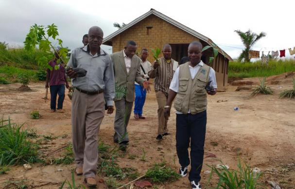 """The United Methodist Church in East Congo is helping protect the environment by planting trees. Bishop Gabriel Yemba Unda, whose office is located at The United Methodist Church Mission of Lokole in Kindu, said reforestation not only aids in the fight against global warming, it means """"fresh air"""" to breathe. Photo by Judith Yanga, UMNS."""