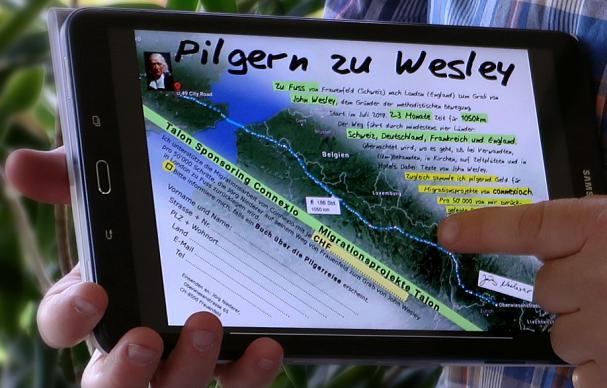 A close up of Jörg Niederer's tablet shows his trek across Europe. Photo courtesy of Jörg Niederer.