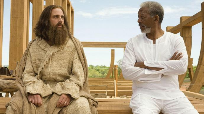 Morgan Freeman (right) as God, with Steve Carrell discuss the construction of the Ark in Evan Almighty (2007). Press photo courtesy of Universal Pictures.