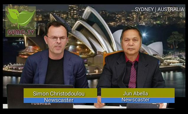 In a video image, Simon Christodoulou (left), an Australian, and Jun Abella (right), a Filipino-Australia immigrant, participate in a practice TV broadcast that was part of a training workshop led by Siegfred Balatan, a producer for GUMC.TV, in Sydney, Australia.  The training was conducted as part of a Television ministry partnership between Wesleyan Methodist Church in Parramatta, Sydney, Australia, and Uniting Church of Australia. Photo courtesy of GUMC.TV.