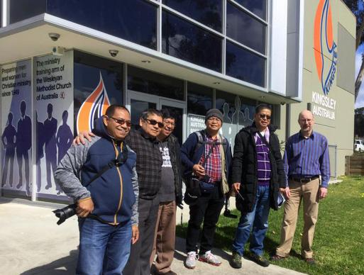 The Rev. Arestedes Balatan (third from left), GUMC.TV producer Siegfred Balatan (fourth from left), and Manila Area Bishop Ciriaco Q. Francisco (fifth from left), pose for a photo during their visit to Kingsley College of Wesleyan Methodist Church in Australia. The visit was to launch a Television ministry partnership between Wesleyan Methodist Church and Uniting Church of Australia. Photo courtesy of the Rev. Arestedes Balatan.