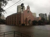 First United Methodist Church in Fort Lauderdale, Fla., is surrounded by floodwaters following Hurricane Irma.