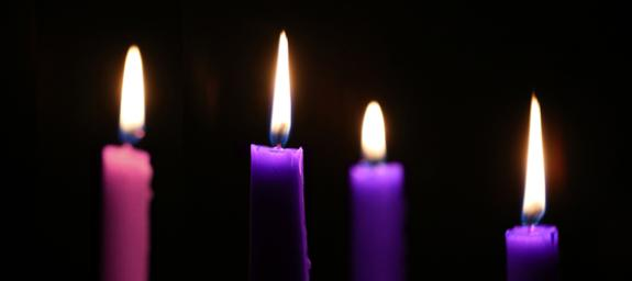 Four advent candles. Photo by Steven Kyle Adair, United Methodist Communications.