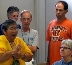 Francine Kenyon makes a point in sign language during a certified lay servant ministry class at the Global Methodist Missions Conference of the Deaf, underway through Aug. 4 in Waxahachie, Texas. Photo by Sam Hodges, UMNS.
