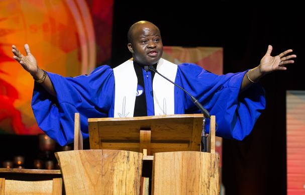 The  Rev. Mande Muyombo helps lead opening worship at the 2016 United Methodist General Conference in Portland, Ore. Photo by Mike DuBose, UMNS