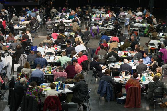 Delegates consider legislation during the 2016 United Methodist General Conference in Portland, Ore. In 2020, the faces at General Conference may change, but the numbers will likely be the same. Photo by Mike DuBose, UMNS.