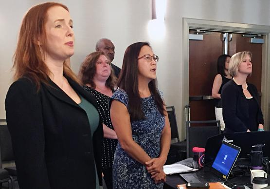 General Council on Finance and Administration staff members join in worship Aug. 18 during the GCFA board meeting in Nashville, Tenn. Photo by Heather Hahn, UMNS.