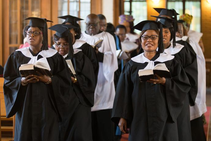 The choir processes into the sanctuary at Ebenezer United Methodist Church, a Ghanaian congregation in Hamburg, Germany. Photo by Mike DuBose, UMNS.