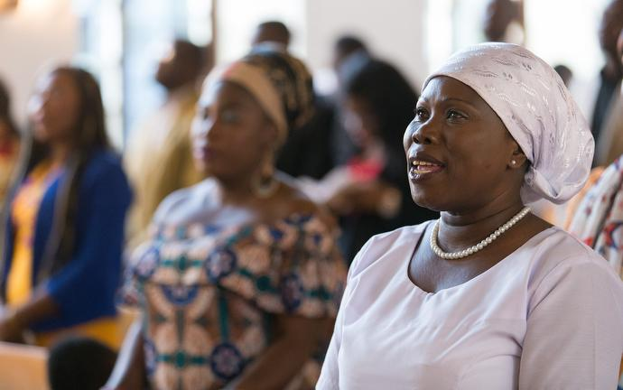 Members of the congregation sing during worship at Ebenezer United Methodist Church. Photo by Mike DuBose, UMNS.