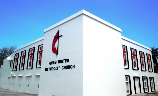 The congregation of Guam United Methodist Church celebrated their building's 20th anniversary in June. The church building has withstood the island's frequent typhoons and earthquakes. Guam became the center of the threatened nuclear showdown last week between North Korea and the U.S. Photo by Johann Osias.