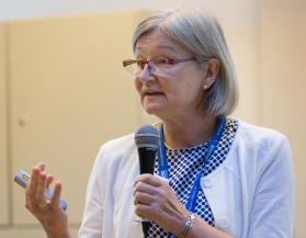 Dr. Beate Jakob addresses the International Health Forum of The United Methodist Church in Stuttgart, Germany. Jakob said the need for churches to play a role in health care was apparent during the Ebola outbreak that began in 2014 in Africa. Photo by Mike DuBose, UMNS.