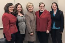 Joining Hillary Clinton, center, at a Jan. 31 lunch were, from left, the Revs. Jen Tyler, Emily Peck-McClain, Danyelle Ditmer and Shannon Sullivan. The four United Methodist clergywomen, along with the Rev. J. Paige Boyer, were part of an editorial team sending daily devotions during Clinton's campaign for U.S. president. Photo courtesy of Danyelle Ditmer