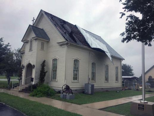 The La Vernia United Methodist Church, in La Vernia, Texas, had roof damage from Hurricane Harvey as it clobbered the upper Texas Gulf Coast on Aug. 25-26. Photo courtesy Rio Texas Conference.