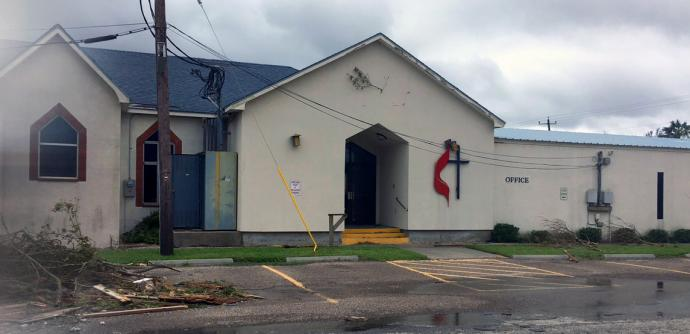 The First United Methodist Church in Rockport, Texas, was damaged by Hurricane Harvey, but many buildings in that coastal community were destroyed. The church's pastor, the Rev. Laura Becker, is among those who had to evacuate. She's not sure when she and her family will be allowed to return. Photo courtesy the Rio Texas Conference.