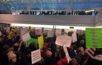 At Thurgood Marshall Baltimore Washington International Airport, published reports state that 2,000 people gathered outside the international arrivals area to rally against the president's executive order. Photo by Erik Alsgaard, Baltimore-Washington Conference.