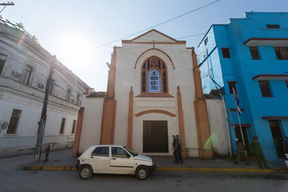 Santa Clara Methodist Church in Santa Clara, Cuba,  stands next to a former Methodist school that now houses a headquarters for the Communist Party. Authorities in Santa Clara said 39 buildings collapsed there because of Irma, according to the Associated Press. November 2016 file photo by Mike DuBose, UMNS.