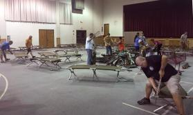 Volunteers from Boy Scout Troop 566 set up cots to receive evacuees from Hurricane Irma at Trinity United Methodist Church in Warner Robins, Ga. Photo courtesy of Trinity United Methodist Church via Facebook.
