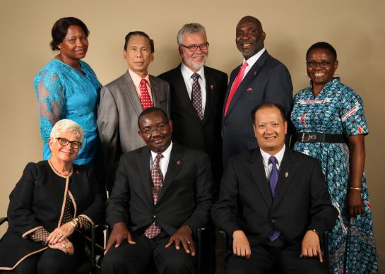 Members of the 2016-2020 Judicial Council. (From left) Front row: Deanell Reece Tacha, N. Oswald Tweh Sr., the Rev. Luan-Vu Tran. Back row: Lydia Romão Gulele, Ruben T. Reyes, the Rev.Øyvind Helliesen, the Rev. Dennis Blackwell, and the Rev. J. Kabamba Kiboko. (Not pictured, Beth Capen)  Photo by Kathleen Barry, United Methodist Communications
